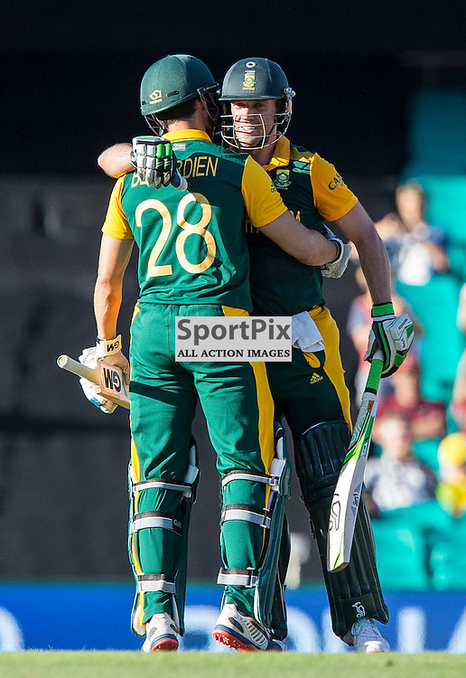 ICC Cricket World Cup 2015 Tournament Match, South Africa v West Indies, Sydney Cricket Ground; 27th February 2015<br /> South Africa&rsquo;s AB De Villiers scores his 100 and embraces South Africa&rsquo;s Farhaan Behardien
