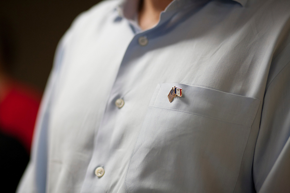Republican presidential hopeful Tim Pawlenty wears a lapel pin of the American and Iowa flags during a campaign stop on Tuesday, August 9, 2011 in Humboldt, IA.
