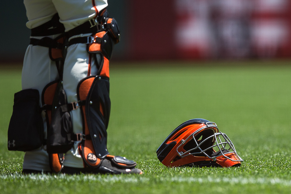 Buster Posey's helmet, AT&T park, 2015.