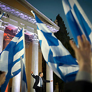 Adonis Samaras arrives to give his speech at Zappeio for the New Democracy party in Athens, Greece. Image © Angelos Giotopoulos/Falcon Photo Agency
