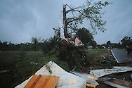 Storm damage on East Long Street (CR 215) in Abbeville, Miss. early Sunday, May 2, 2010. A woman was killed in the storm.