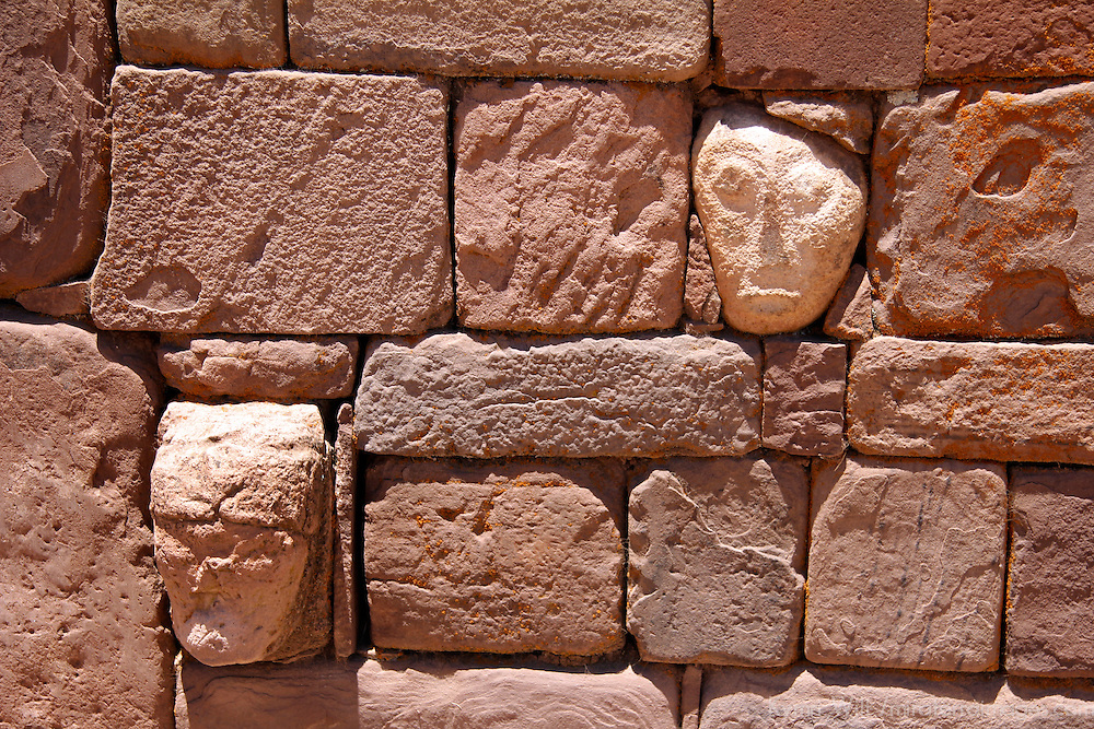 South America, Bolivia, Tiwanaku. Stone Tenon Heads of Pre-Columbian archaeological site of Tiwanaku, a UNESCO World Heritage Site.