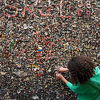 Bubble Gum Alley runs between buildings in downtown San Luis Obispo and dates back, according to some local historians, to World War II. The alley walls are lined with chewed gum.
