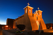 San Francisco de Asis Church at night. Ranchos de Taos, New Mexico.