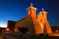 San Francisco de Asis Church at night. Ranchos de Taos, New Mexico.