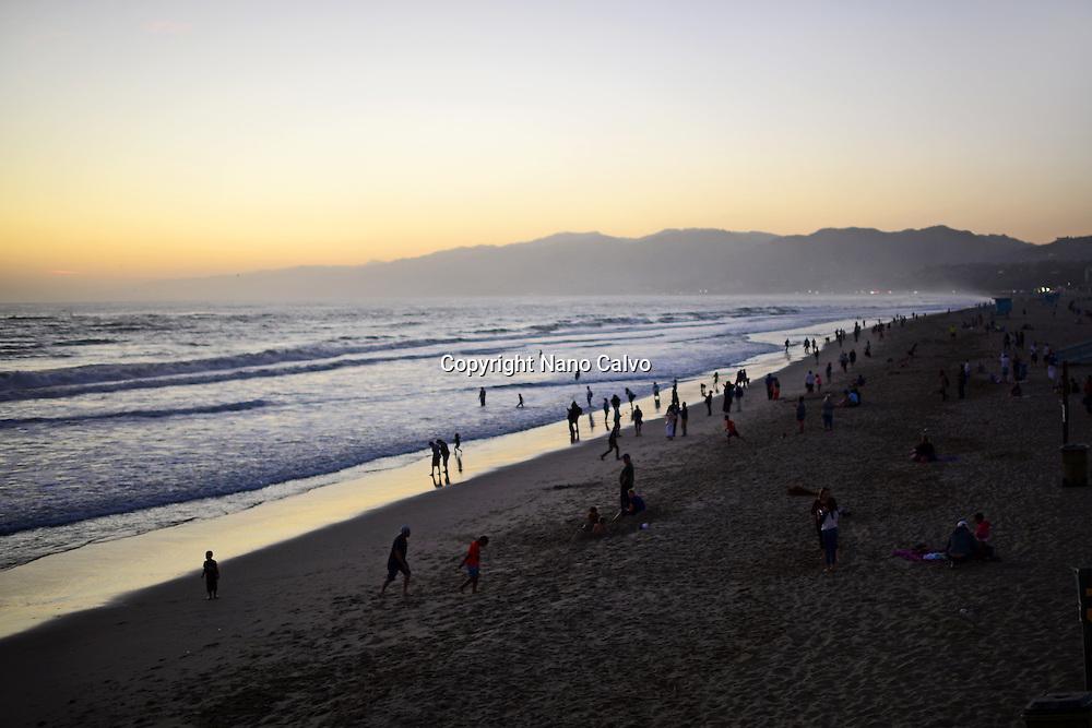 Santa Monica State Beach at sunset, California.