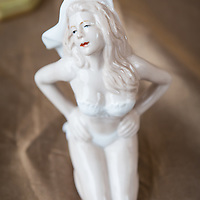 Small white porcelain figurine for sale at the flea market in Nice
