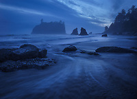 Twilight blues after sunset, Ruby Beach, Olympic National Park, WA, USA