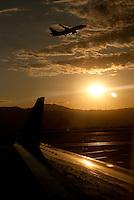 An airplane takes off at Salt Lake International Airport.