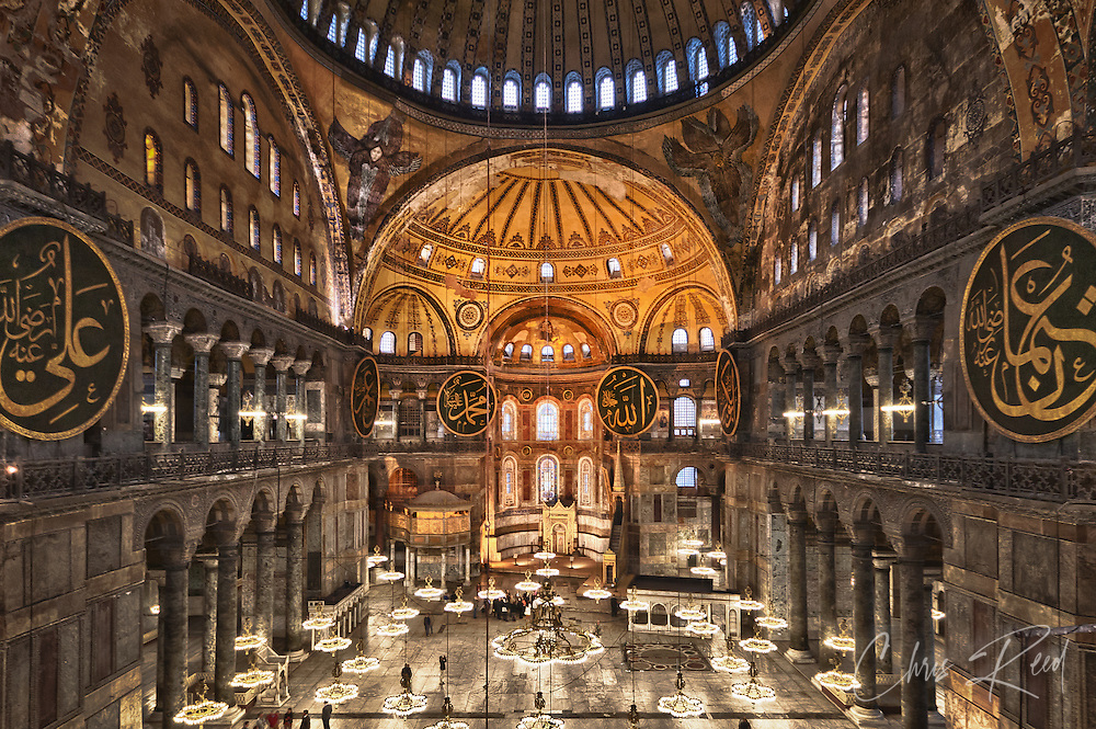 Turkey, Istanbul, Sultanahmet. Interior of the Hagia Sophia mosque.