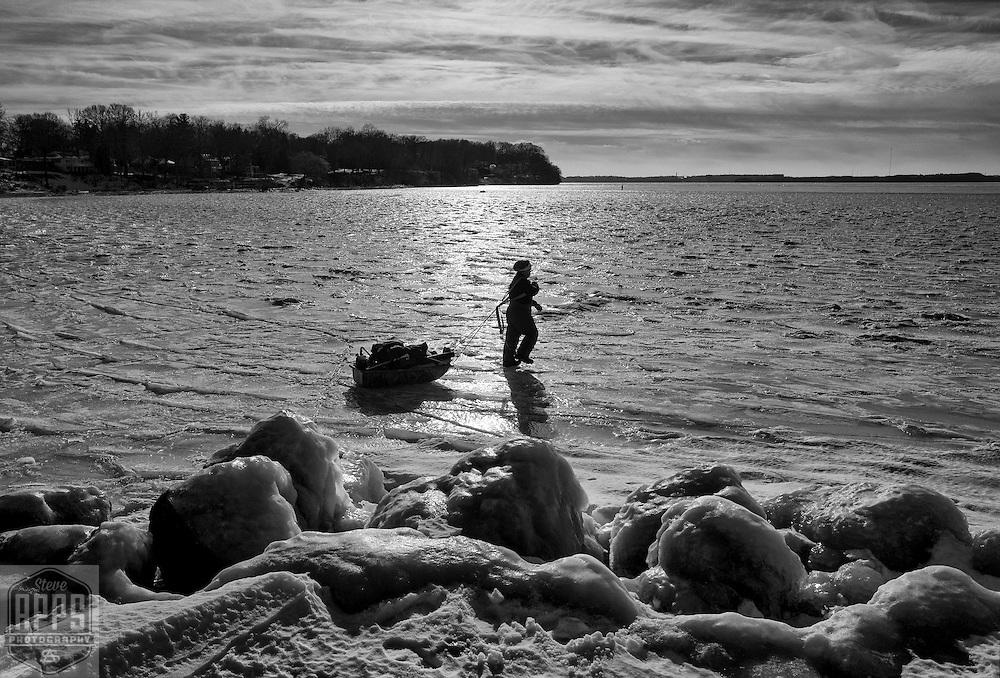 Ice fishing on Lake Mendota in Madison,  Wisconsin Sunday, Jan. 1, 2017