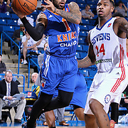 Westchester Knicks Guard JORDON CRAWFORD (1) attempts to pass the ball as Delaware 87ers Guard SEAN KILPATRICK (14) defends in the second half of a NBA D-league regular season basketball game between the Delaware 87ers and the Westchester Knicks  Saturday Dec, 26, 2015 at The Bob Carpenter Sports Convocation Center in Newark, DEL