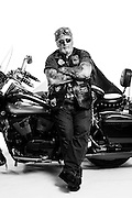 Every year Bruce Thibodeau jumps on his Harley and heads to Laconia Bike Week in New Hampshire. This Vietnam Veteran wears his war patches with pride. <br /> <br /> Bruce Thibodeau<br /> Army<br /> E-6<br /> 1967 - 1974<br /> Infantry<br /> Vietnam War<br /> <br /> Veterans Portrait Project<br /> Laconia, NH<br /> Laconia Bike Week