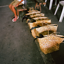 """Male roosters are held prior to the cock fighting competition in Cavite, Philippines on Dec. 2006. The competition is the main event on a weekday afternoon not far from the home of Teresita """"Tita"""" and Demetrio Comodaz """"Emmet"""". New found prosperity comes with a hefty price for many Filipino workers, as many of them get sucked into gambling and alcoholism from the loneliness acquired from years abroad. Often workers will get put in jail for holding illegal cock fights in the more conservative host countries, such as Saudi Arabia. Cock fighting is a common and legal sport in the Philippines and can even be seen as televised events."""
