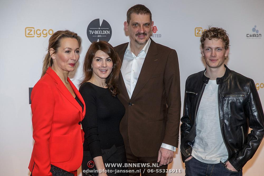 NLD/Amsterdam/20150302 - Uitreiking TV Beelden 2015, Cythia Abma, Kim van Kooten, Peter Van Den Begin en Martijn Lakemeijer