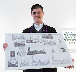 Christies, St James, London, March 4th 2016. 15 year-old Zoom Rickman, a published illustrator graphic novelist poses with his pen and ink drawings at the preview for the It&rsquo;s Our World charity auction at Christie's. Over 40 leading artists including David Hockney, Sir Antony Gormley, David Nash, Sir Peter Blake, Yinka Shonibare, Sir Quentin Blake, Emily Young and Maggi Hambling have committed artworks to the It&rsquo;s Our World Auction in support of The Big Draw and Jupiter Artland Foundation, to be sold at Christie&rsquo;s London on 10 March 2016.<br />  ///FOR LICENCING CONTACT: paul@pauldaveycreative.co.uk TEL:+44 (0) 7966 016 296 or +44 (0) 20 8969 6875. &copy;2015 Paul R Davey. All rights reserved.