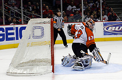 Mar 30, 2007; East Rutherford, NJ, USA; Philadelphia Flyers goalie Martin Biron (43) makes a save during the third period at Continental Airlines Arena in East Rutherford, NJ.