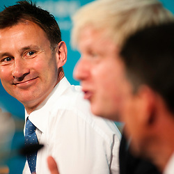 London, UK - 13 August 2012: Culture Secretary, Jeremy Hunt smiles during the final press conference of the Olympic Games to discuss the success of London 2012.