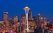 Space Needle and downtown city skyline at dusk; Seattle, Washington.