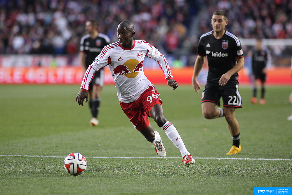 Bradley Wright-Phillips, New York Red Bulls, in action during the New York Red Bulls V DC United, MLS Cup Playoffs, Eastern Conference Semifinals first leg at Red Bull Arena, Harrison, New Jersey. USA. 2nd November 2014. Photo Tim Clayton