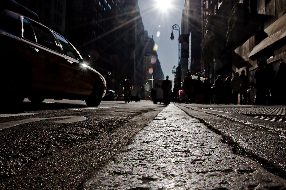 Sidewalk on 7th avenue in the fashion district of Manhattan, New York, 2009.