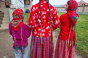 Girls, long braids, Gypsy, traditional dress, Romania