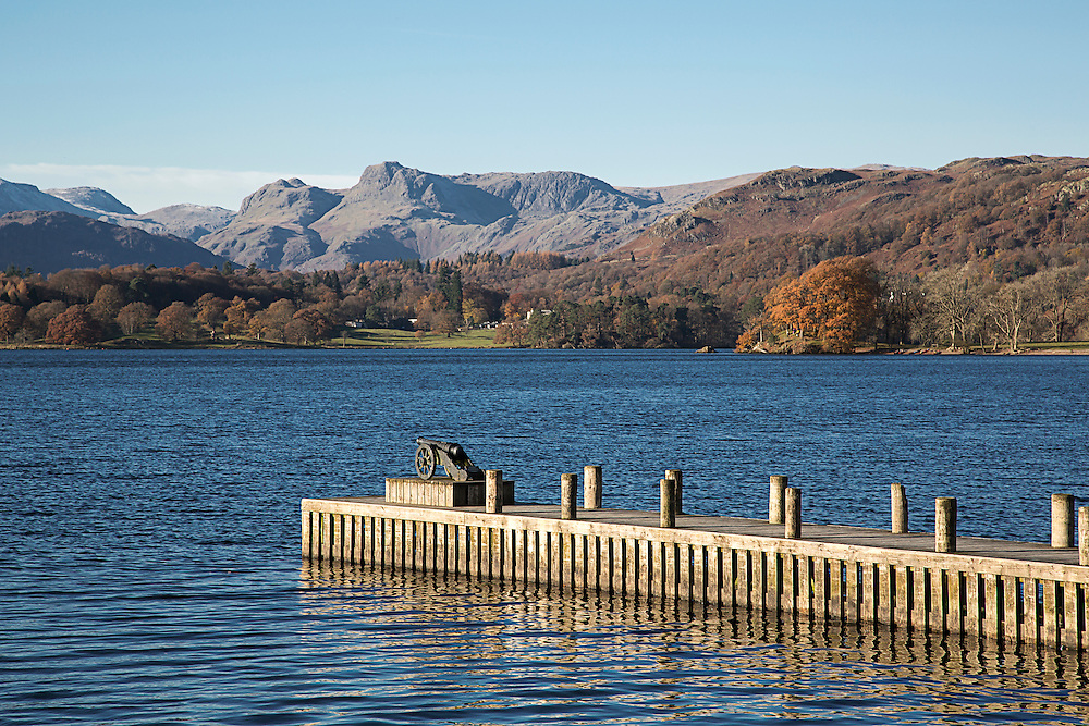 A view towards the Langdale Pikes over Lake Windermere in The English Lake District