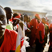 Members of the #1 Asafo company wait for their chief to leave after listening to official speeches during the annual Oguaa Fetu Afahye Festival in Cape Coast, Ghana on Saturday September 6, 2008.
