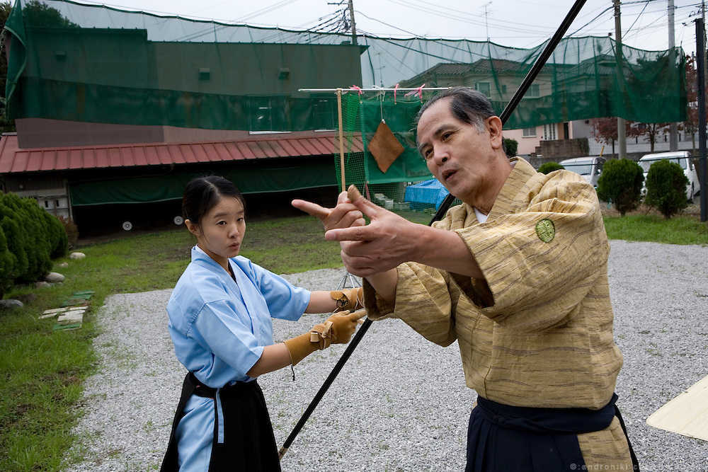 Trainning in Yabusame (equestian archery) at the branch of the Ogasawara school in Saitama