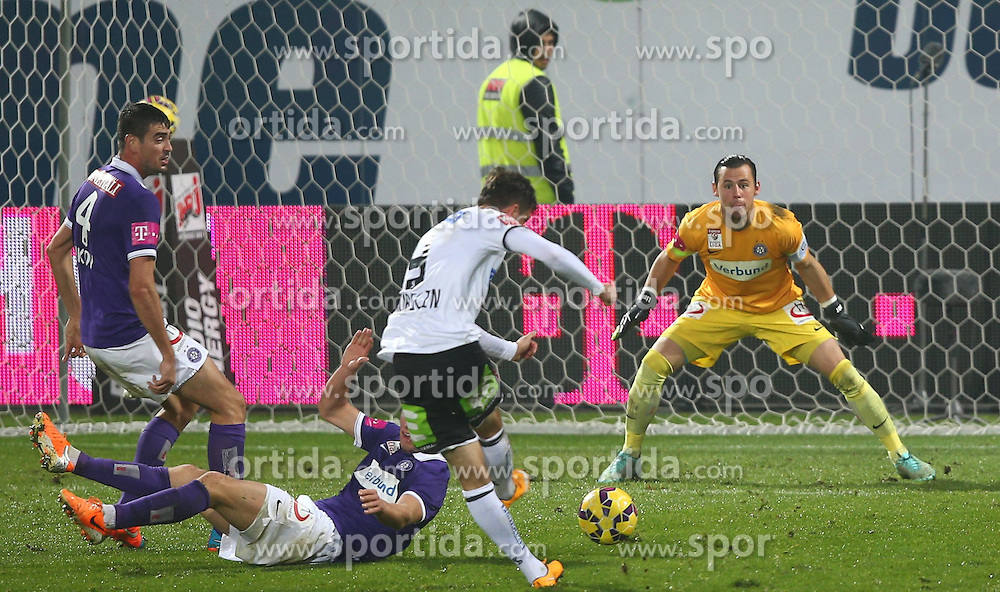 01.11.2014, Generali Arena, Wien, AUT, 1. FBL, FK Austria Wien vs SK Puntigamer Sturm Graz, 14. Runde, im Bild Tor durch Marco Djuricin (SK Puntigamer Sturm Graz), Vanche Shikov, (FK Austria Wien), Lukas Rotpuller, (FK Austria Wien) und Heinz Lindner, (FK Austria Wien) // during Austrian Football Bundesliga Match, 14th Round, between FK Austria Vienna and SK Puntigamer Sturm Graz at the Generali Arena, Vienna, Austria on 2014/11/01. EXPA Pictures © 2014, PhotoCredit: EXPA/ Thomas Haumer