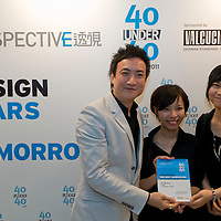 Architects Rosly Mok (C) & Vanessa Chan (R) receive their 40 Under 40 Perspective magazine award.