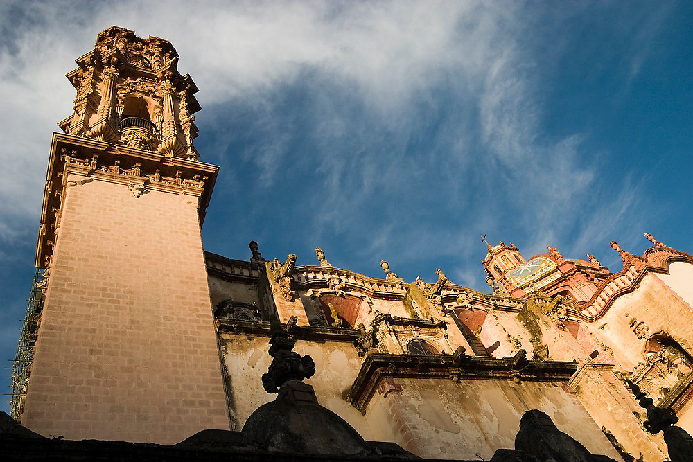 The 240 year old Santa Prisca Cathedral, at sunset, in the silver mining city of Taxco, Guerrero State, Mexico.