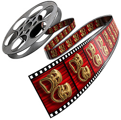 Movie film reel isolated on a white background with comedy/tragedy masks on the celluloid