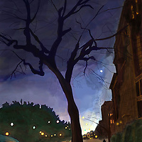 Prospect Park West between 8th and ninth Street in Park Slope, Brooklyn, New York