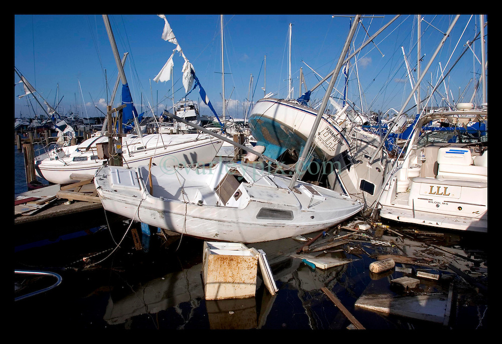 3rd Oct, 2005. Hurricane Katrina aftermath, New Orleans, Louisiana. Smashed yachts at the Southern Yact Club on the shores of Lake Pontchartrain in Lakeshore, New Orleans.
