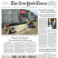 "THE NEW YORK TIMES. A1. ""Poisoned by Hunger: Life and Death in Venezuela"" by Nicholas Casey. December 26, 2016"
