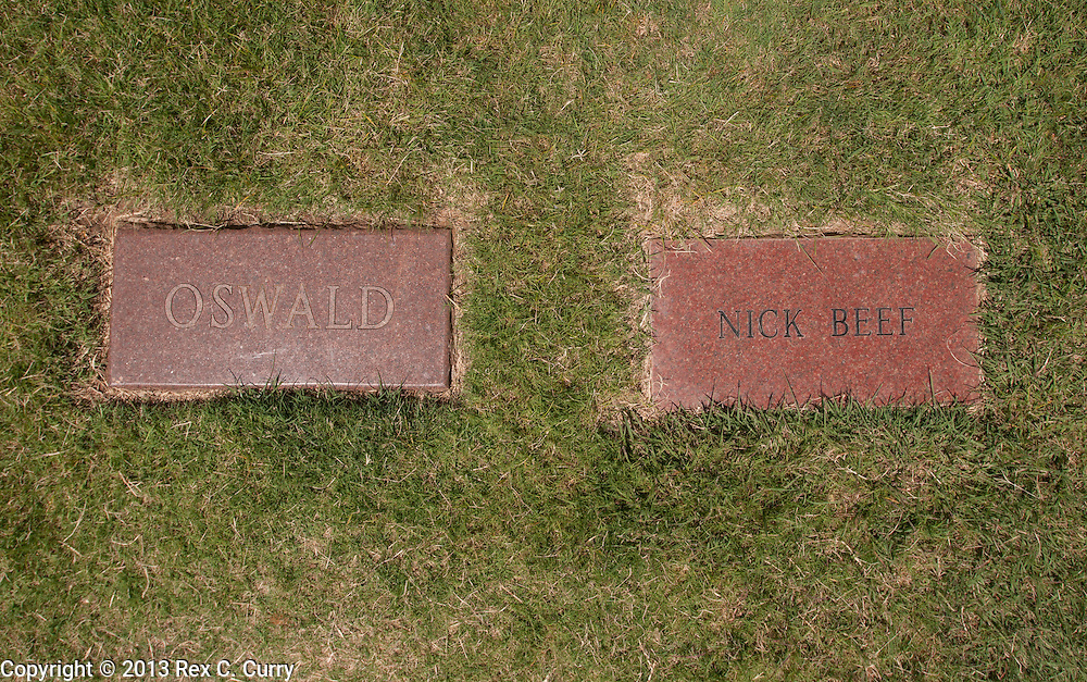 """The grave marker of Lee Harvey Oswald in the Shannon Rose Hill Cemetery in Fort Worth, Tx. is next to an empty grave with the name of Nick Beef on the marker.  The space was bought by guy named Patric Abedin, a 56-year-old """"nonperforming performance artist"""" in New York City."""
