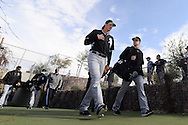 GLENDALE, AZ - FEBRUARY 24:  Jeff Samardzija #29 and Gordon Beckham #15 of Chicago White Sox walk to the practice fields during spring training workouts on February 24, 2015 at The Ballpark at Camelback Ranch in Glendale, Arizona. (Photo by Ron Vesely)   Subject:   Jeff Samardzija; Gordon Beckham