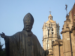 Statue of Pope John Paul II in front of the Basilica of Guadalupe during our trip to Mexico from Feb. 16 2006 until March 6 2006.