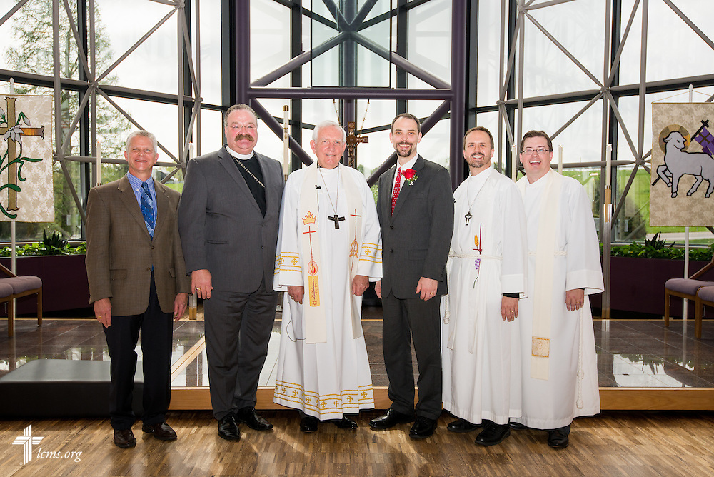 Group photograph (from left) the Rev. Randall Golter, executive director of the LCMS Office of International Mission, the Rev. Dr. Matthew C. Harrison, president of The Lutheran Church--Missouri Synod, the Rev. Dr. Ray Mirly, president of the LCMS Missouri District, Christian J. Boehlke, director of Missionary Services at the LCMS, the Rev. Dr. Edward Grimenstein, associate executive director of Office of International Mission, and the Rev. Jacob Sutton of Immanuel Evangelical Lutheran Church in Terre Haute, Ind., following a Service of Installation for Boehlke at the International Center of The Lutheran Church--Missouri Synod on Monday, April 28, 2014, in Kirkwood, Mo. LCMS Communications/Erik M. Lunsford