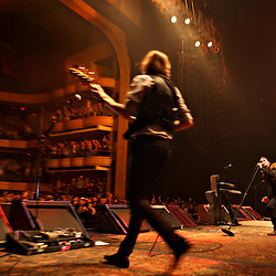 The post-punk band The Killers perform at the Hammerstein Ballroom at Manhattan Center Studios in New York, N.Y. on Oct. 24, 2008. The Killers' Mark Stoermer, bass guitar and vocals, and Brandon Flowers, lead vocals and keyboards, perform for the crowd.