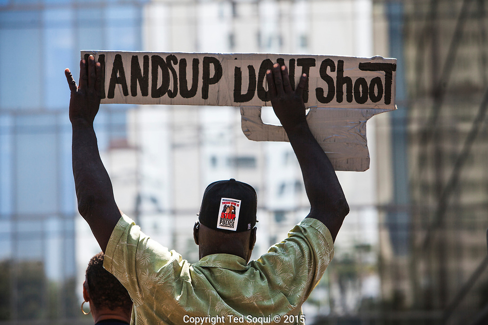 Stop Murder by Police march and rally in front of the LAPD headquarters in downtown LA. Hundreds of protesters marched and protested  near the headquarters.