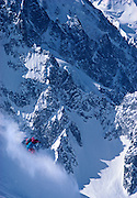The late extreme skier Patrick Vallencant(1946-1989) skiing one of the world's great powder runs, the Pas de Chevre (Track of the Goat) on the Grandes Montets, Chamonix France