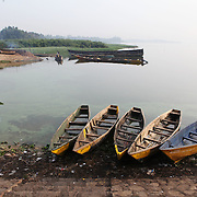 Fishing boats line the banks of Lake Victoria on the morning of June 30th, after most fishermen have come in for the day. Here in Ggaba, a small town in southern Uganda that almost entirely subsists on the fishing industry, the locals have contributed to the dangerous overfishing of the lake despite strict regulations from Tanzania, Uganda, and Kenya. Fishermen continue to keep fish that are far below the required minimum weight and employ dymanite and poison.