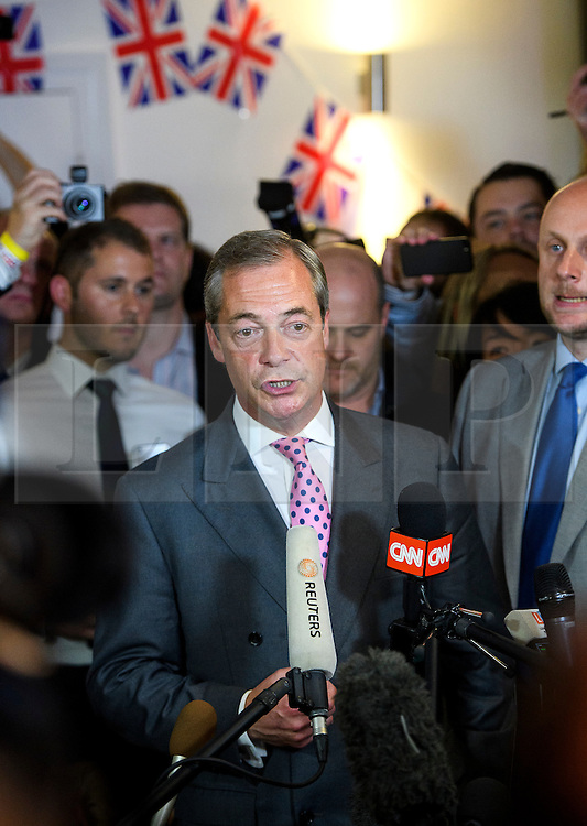 © Licensed to London News Pictures. 23/06/2016. London, UK. UKIP leader Nigel Farage arrives at a Brexit party in Westminster.  Votes are now counted in the EU referendum after polls closed at 10pm. Photo credit: Ben Cawthra/LNP