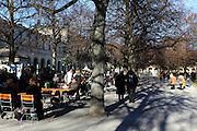 Residents of Munich enjoy the early winter sunshine in the Hofgarten