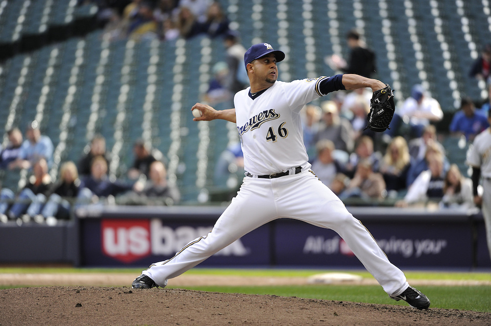 MILWAUKEE - APRIL 28:  Claudio Vargas #46 of the Milwaukee Brewers pitches against the Pittsburgh Pirates on April 28, 2010 at Miller Park in Milwaukee, Wisconsin.  The Pirates defeated the Brewers 6-5 in 14 innings.  (Photo by Ron Vesely)