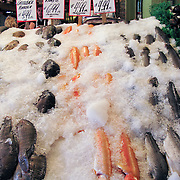 Iced fish for sale at Pike Street Public Market Center and Farmers Market, in downtown Seattle, Washington, USA.