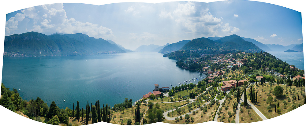 Aerial panorama from the point of view of the Rockefeller Foundation Bellagio Center, Lake Como, Italy.