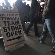 Crowded walk ways as fan celebrate opening day at Comerica Park.